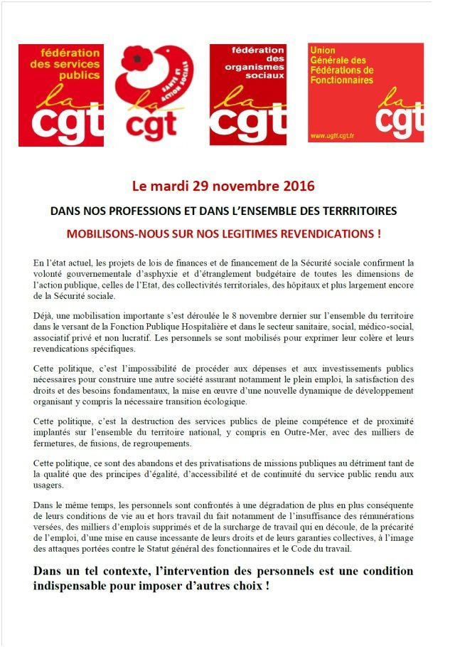 Appel a la Grève le 29 Novembre