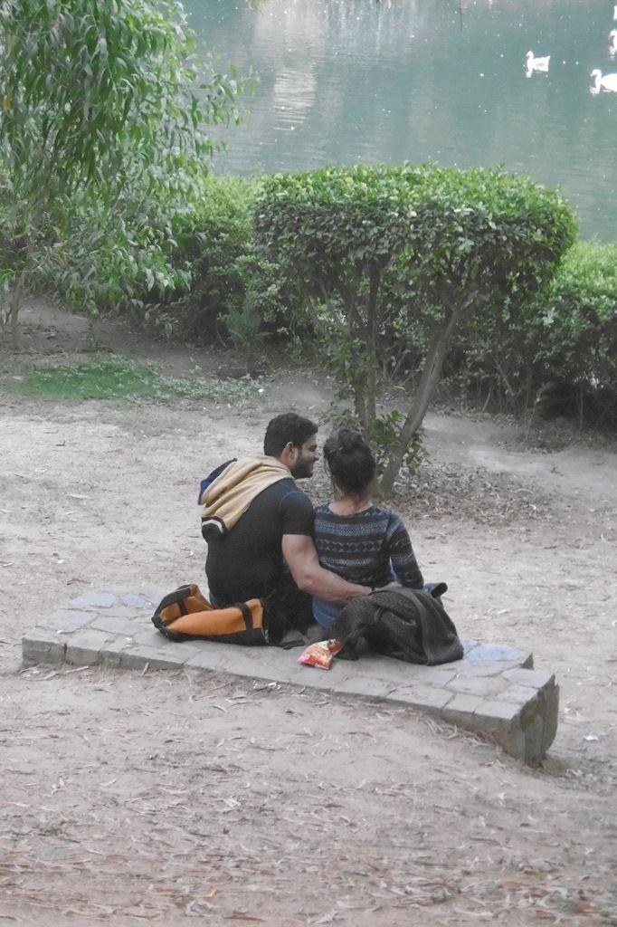 un des seuls endroits où l'on peut voir des amoureux à Delhi
