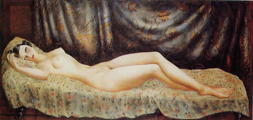 Arletty fumant (photo anonyme) - Moïse Kisling, Arletty allongée nue sur son lit, 1933