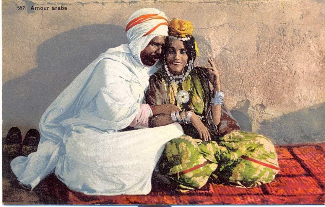 Phototypie Lehnert, Amour arabe, carte postale vers 1910 -  Etienne Dinet, La Quesba