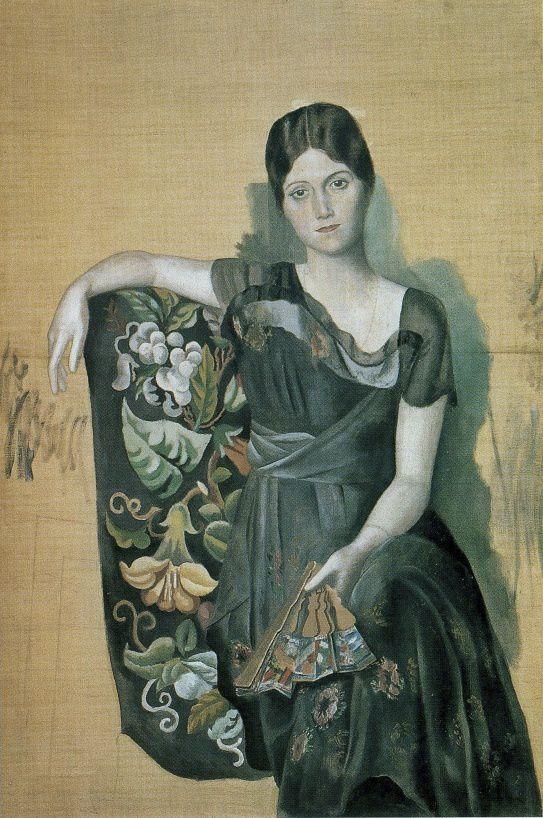 Pablo Picasso (et Emile Delétang), Portrait d'Loga, début 1918 - Pablo Picasso, Portrait d'Olga dans un fauteuil, 1918
