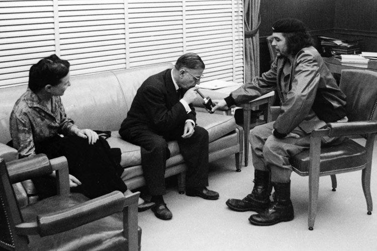 Simone de Beauvoir et Jean-Paul Sartre avec Che Guevara en 1960