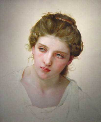 William Bouguereau - Etude d'une tête de femme blonde de face 1898