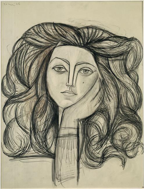 Pablo Picasso - Portrait de Françoise, fusain, 1946