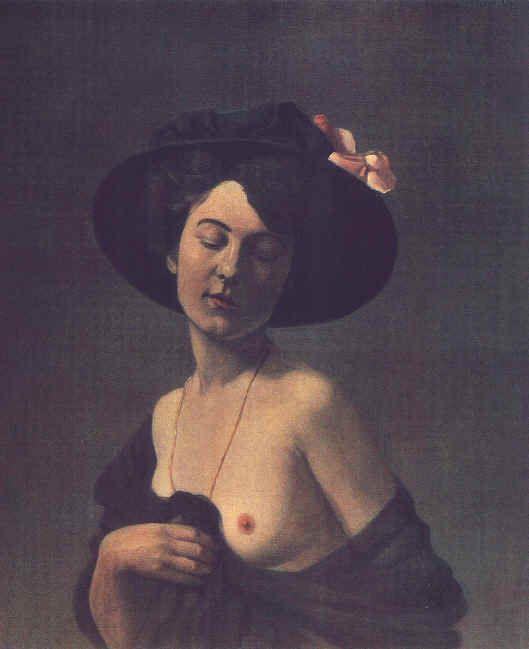 Felix Vallotton - Automne  -  Portrait de femme en chapeau noir 1908