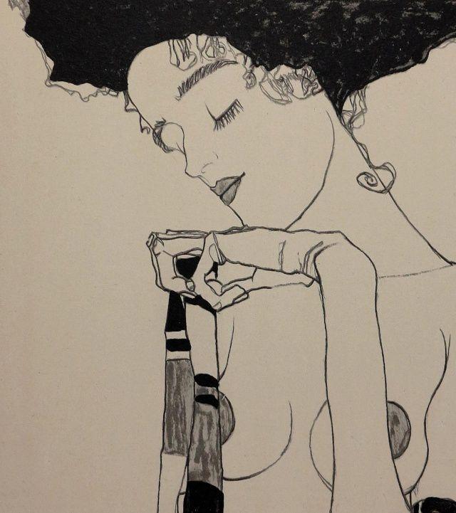 Egon Schiele - Gertri Schiele (Lithographie) 1909