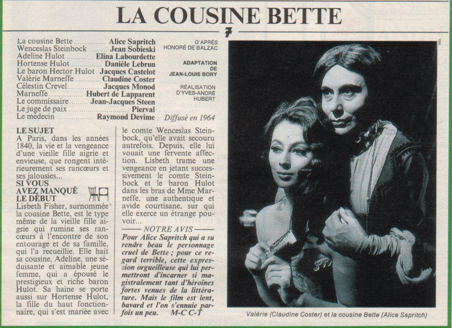 Articles de presse sur le film adapté de La Cousine Bette