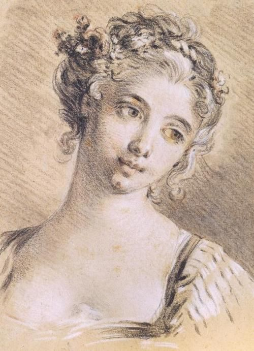 François Boucher - Dessin d'une tête de femme, vers 1760