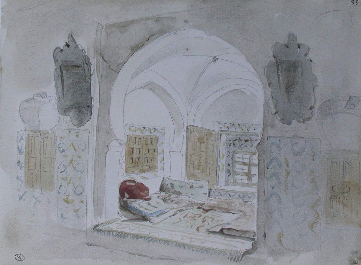 Intérieur mauresque avec deux glaces, au centre une alcôve, 1832