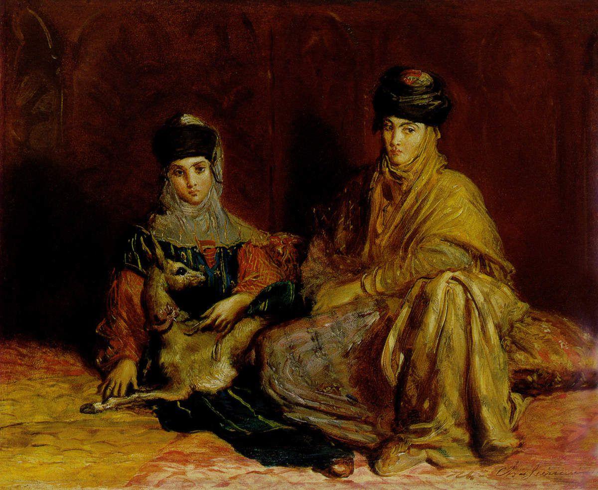 Femme et fillette de Constantine avec une gazelle, 1849
