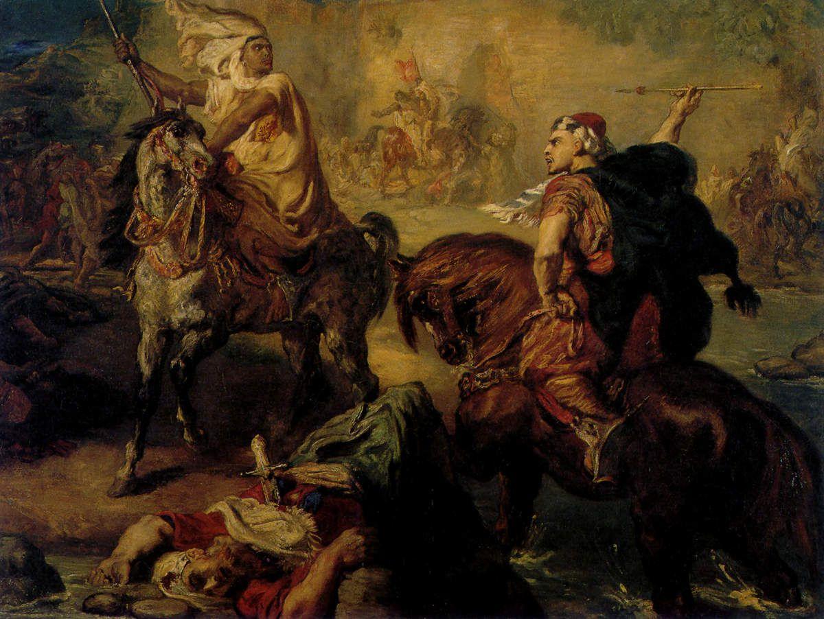 Chefs de tribus arabes se défiant en combat singulier sous les remparts d'une ville, 1852