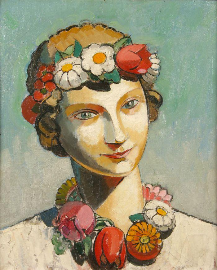 Maurice Marinot -Tête de femme au collier de fleurs 1920