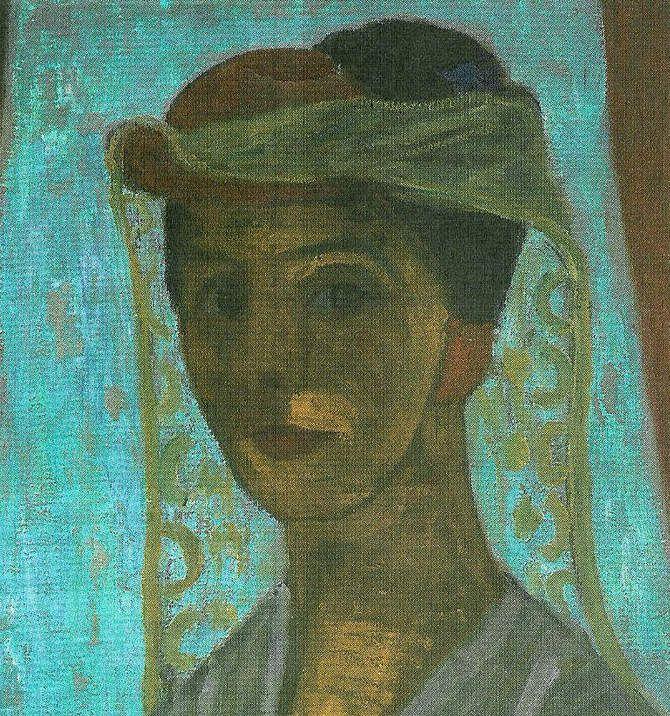 Paula Modersohn Becker - Autoportrait au chapeau avec une voilette 1905-1906