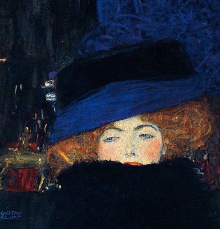 Gustav Klimt - Dame avec chapeau et boa de plumes 1910