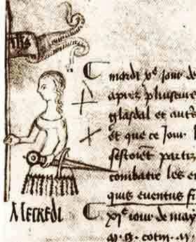 Clément de Fauquembergue - Jeanne d'Arc. Esquisse réalisée le 10 mai 1429. Registre du parlement de Paris, Archives Nationales