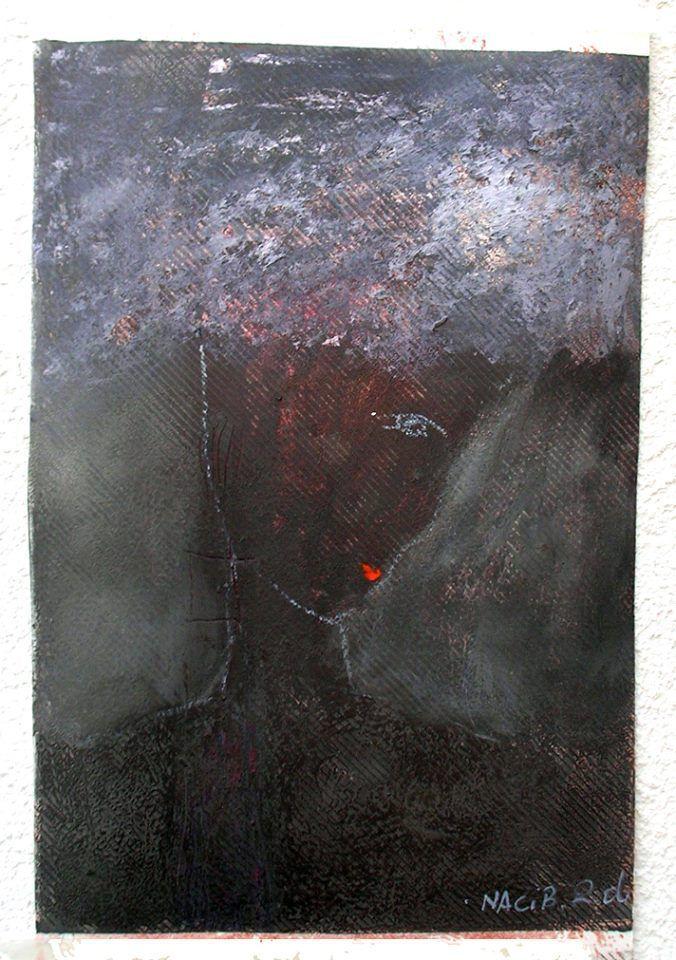 L'apprentie sorcière, acrylique et pastel gris sur papier, 21X30cm 2016