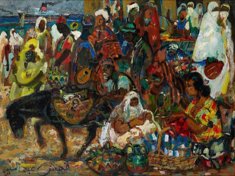 Reflets d'Alger, le marché, huile sur toile