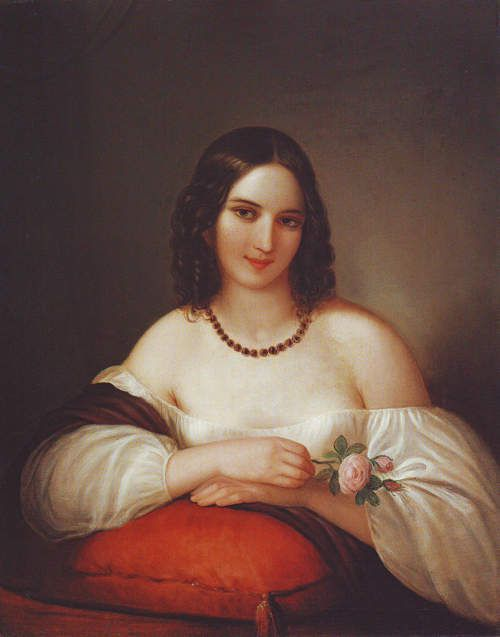 Achille Devéria - Jeune femme à la rose