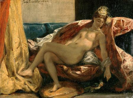 Eugène Delacroix - Odalisque caressant son perroquet