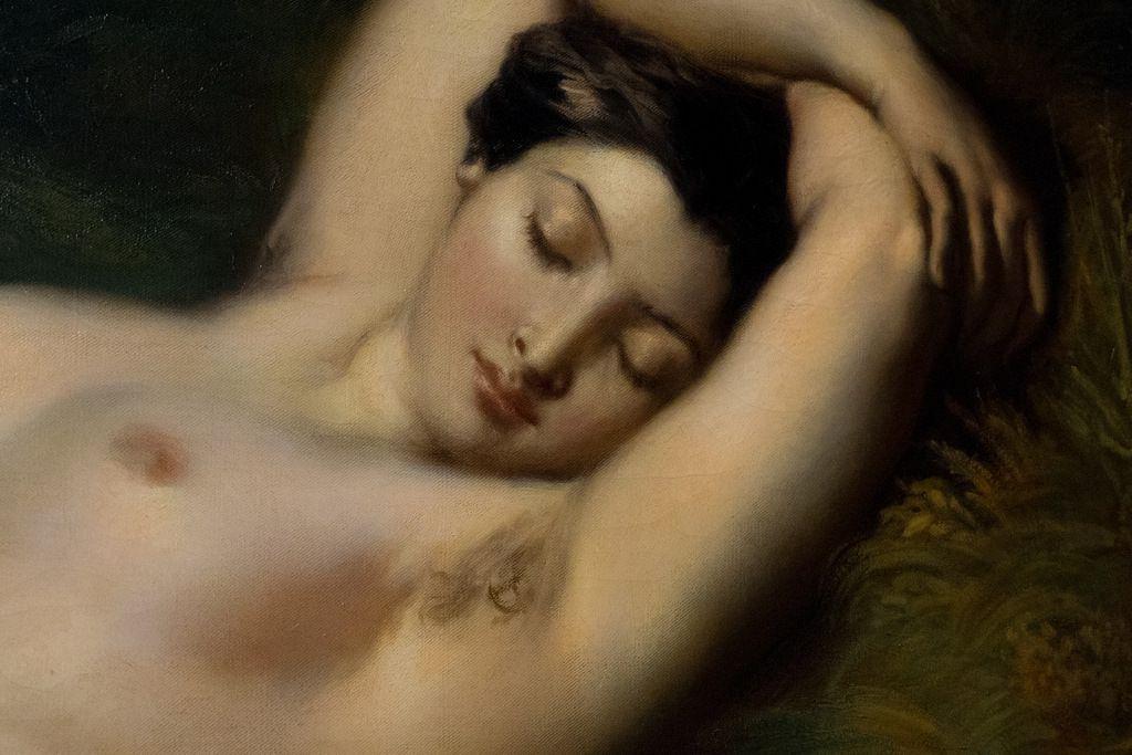 Théodore Chassériau - Baigneuse endormie près d'une source, détail  (Alice Ozy, modèle et compagne du peintre), 1850