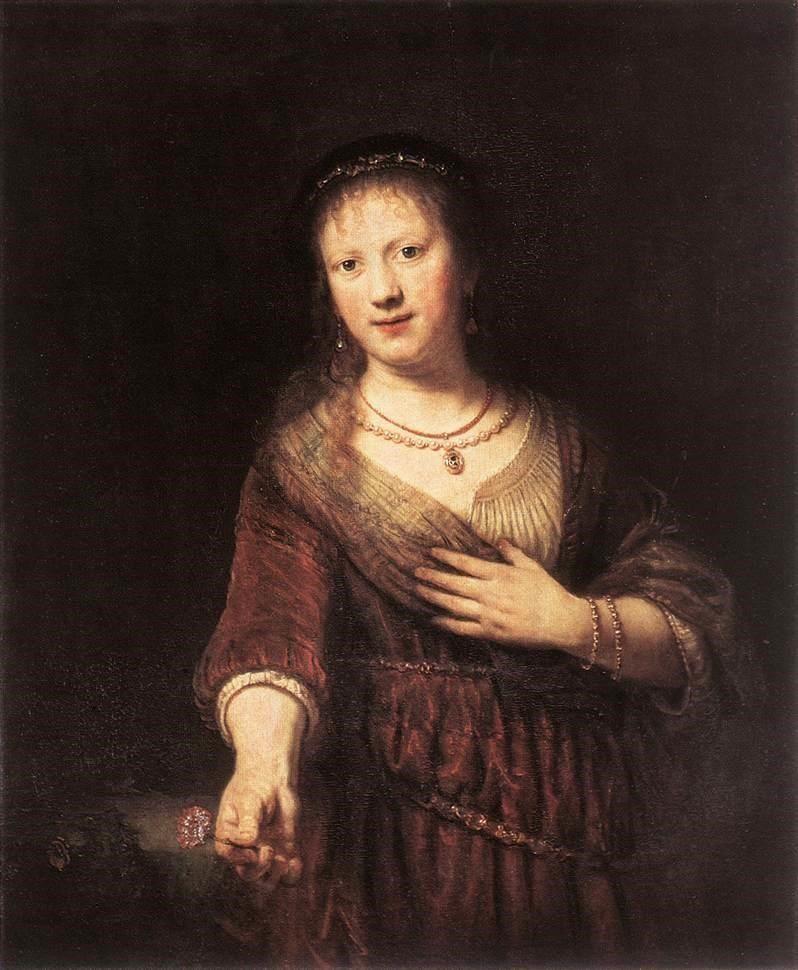 Rembrandt - Portrait de Saskia avec une fleur, 1641