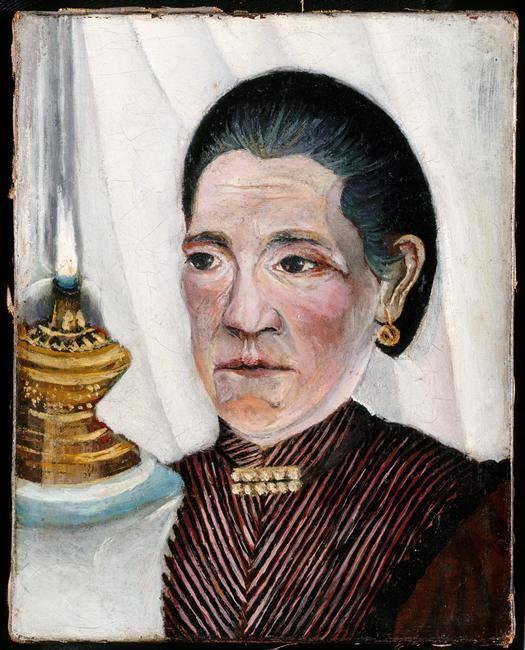 Le Douanier Rousseau - Joséphine à la lampe (Joséphine-Rosalie Nourry), portrait de la seconde épouse du peintre, 1903