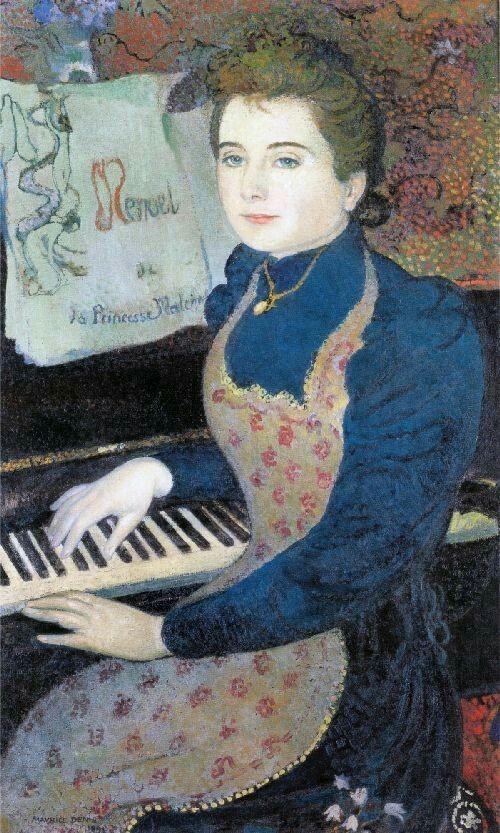 Maurice Denis - L'épouse du peintre Marthe Meurier au piano ou Le menuet de la Princesse Maleine, 1891