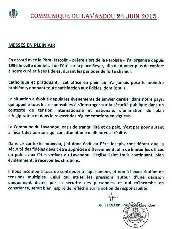 Messes: communiqué du maire du Lavandou