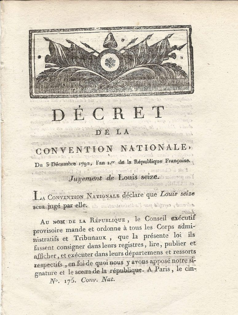 PROCES &amp&#x3B; CONDAMNATION DE LOUIS XVI.