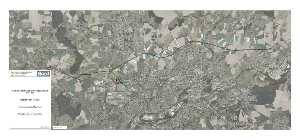 plan du contournement nord de Maubeuge proposé par le Département