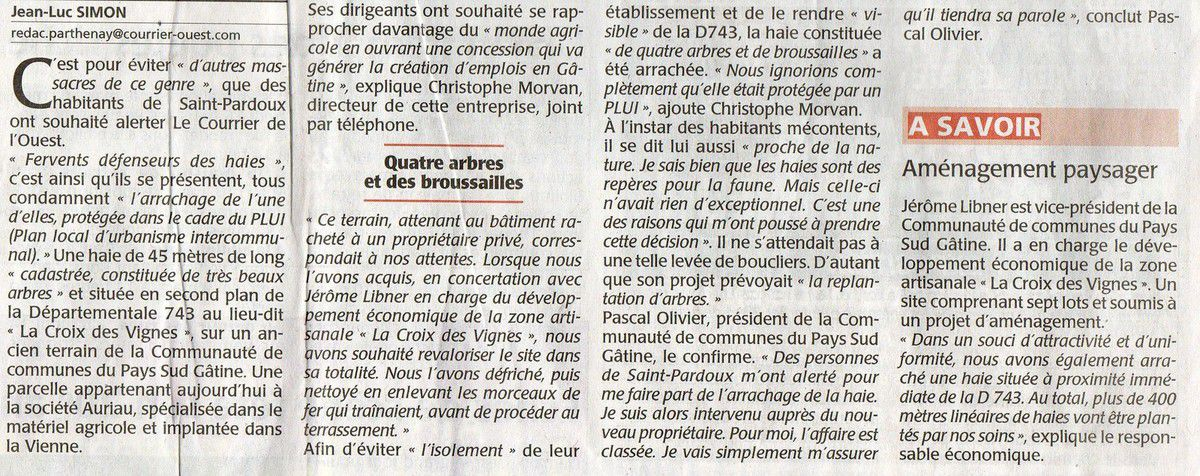 Massacre d'une haie protégée à Saint-Pardoux !