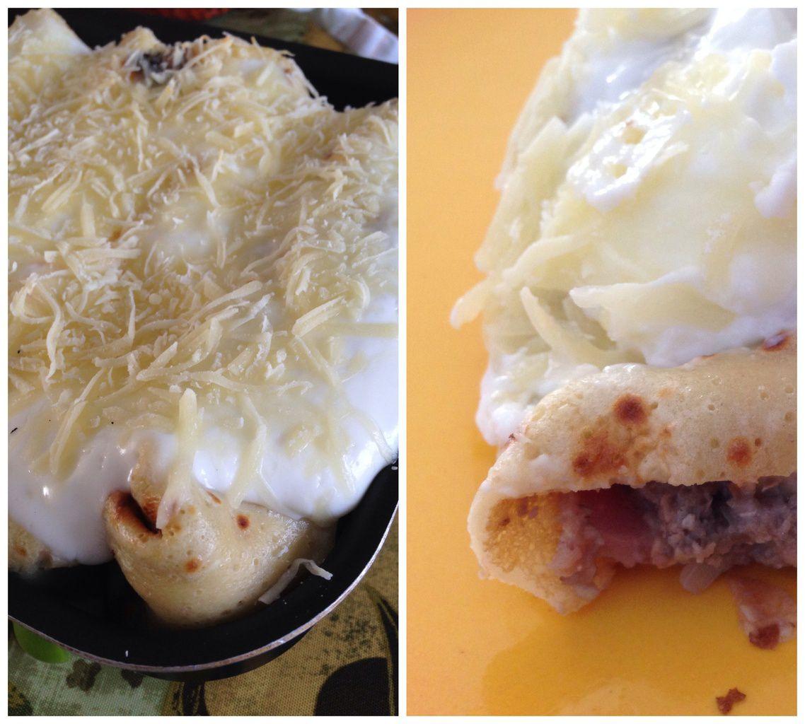 crêpe jambon champignon crème fromage râpé