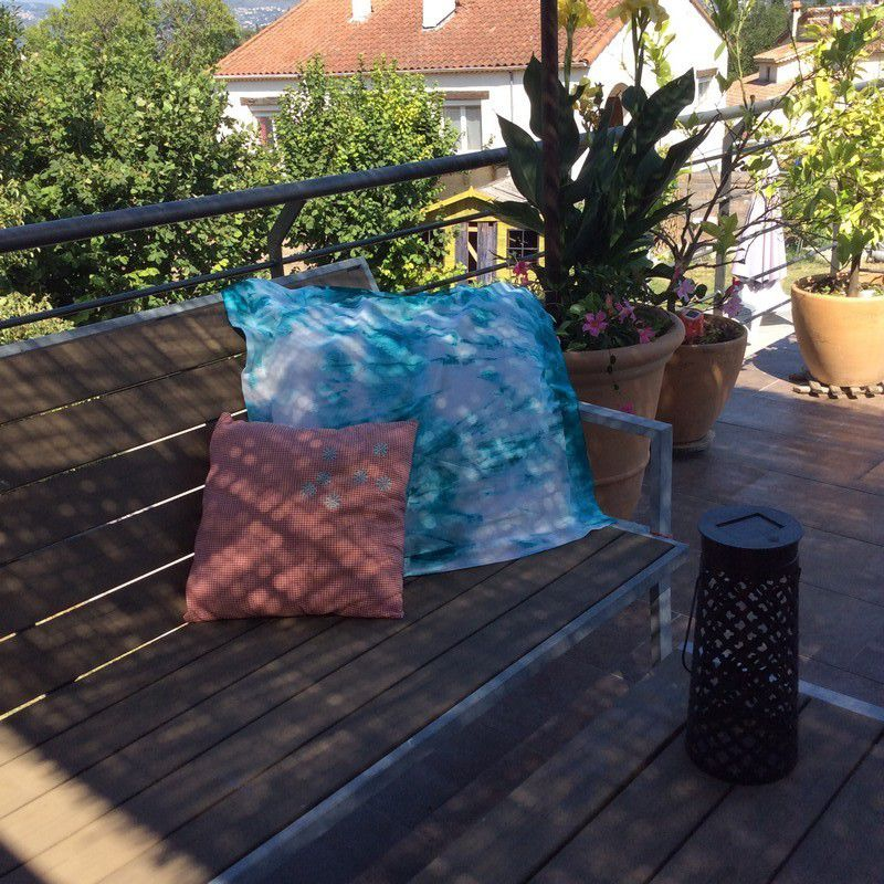 Customisation coussin - tie and dye - Turquoise