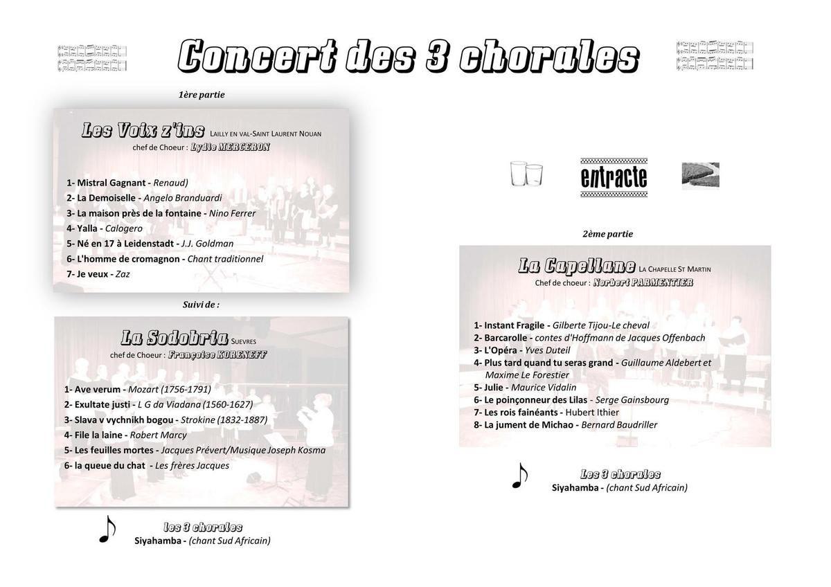 Concert 3 chorales à St Laurent