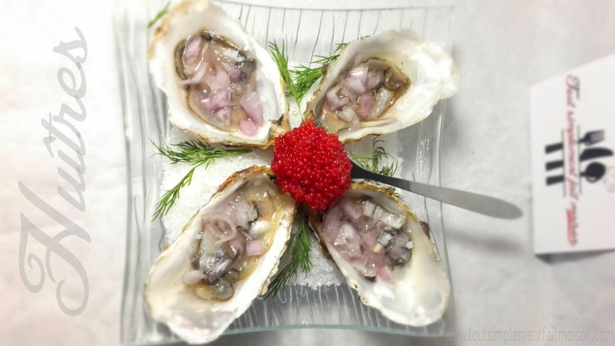 Huîtres crues: échalotes, jus de citron et oeufs de poisson