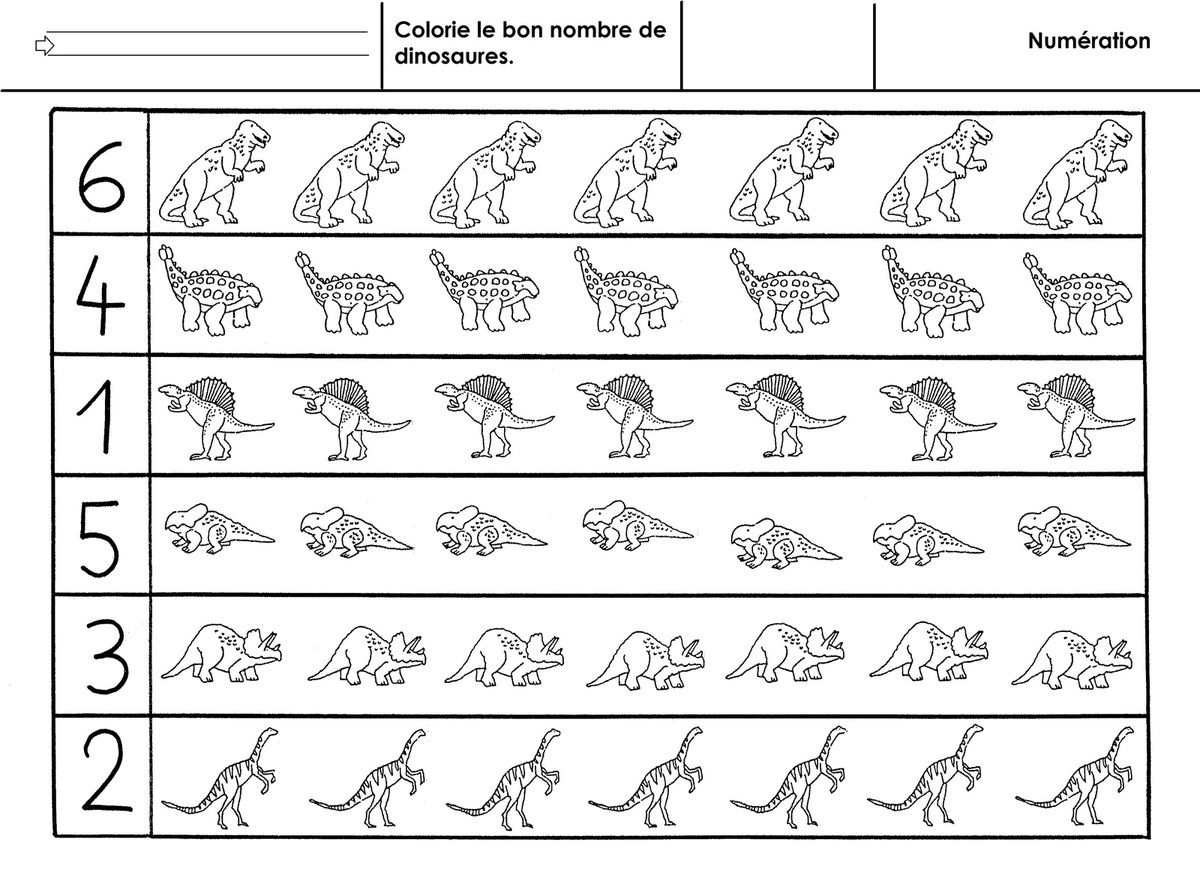 Dinosaures Numeration A 6 Ecole Maternelle Gellow