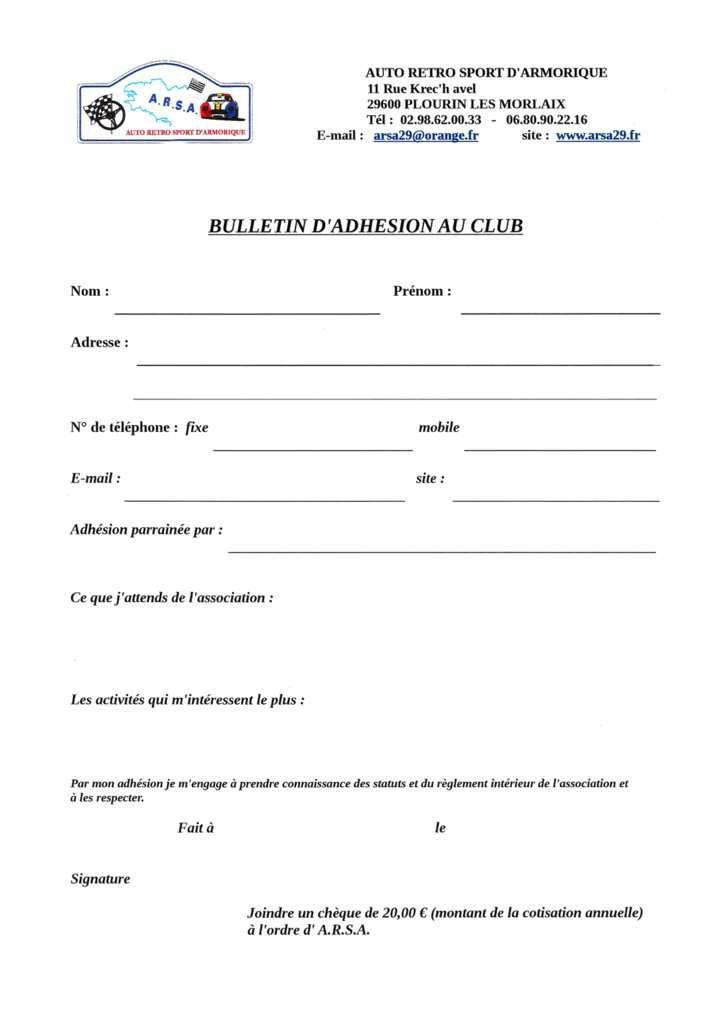 BULLETIN D'ADHESION AU CLUB