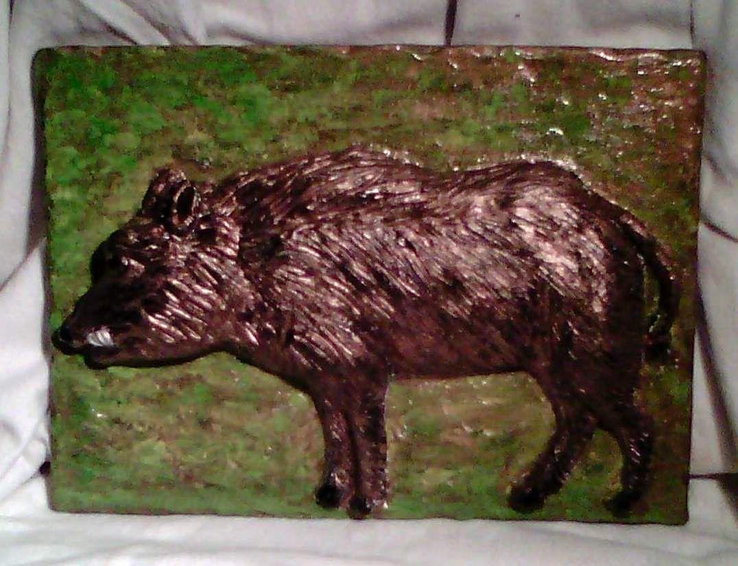 Bas-relief, terre cuite, 21 X 28 cm