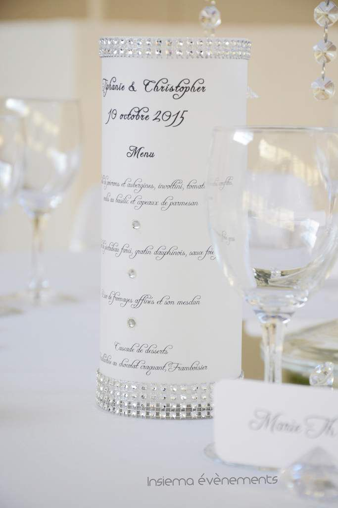 Mariage: thème: Roses blanches, argent et strass
