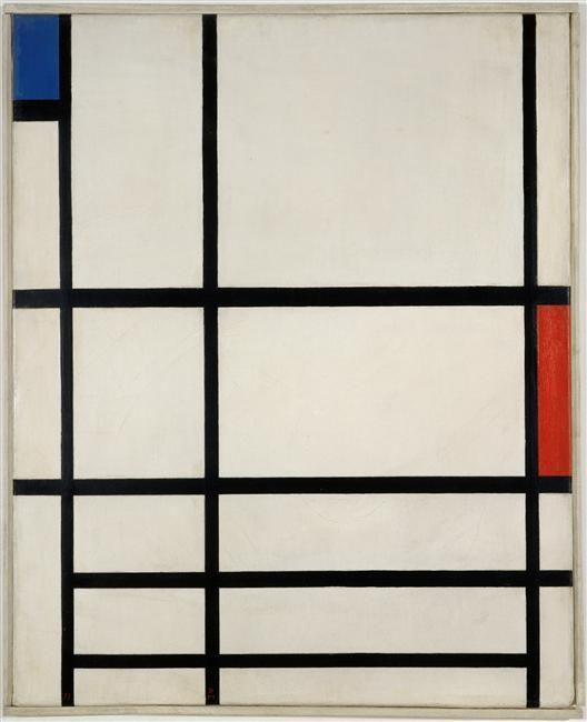 Composition en rouge ,bleu et blanc II