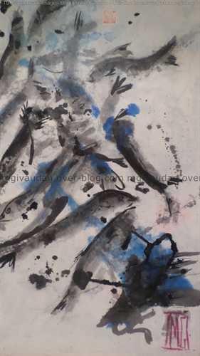 Sardines et rougets: grands et petits formats encre de Chine