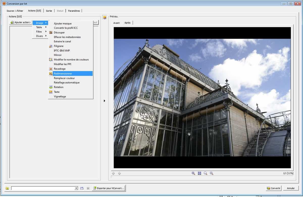[Image 4] : l'onglet action du logiciel Xnview