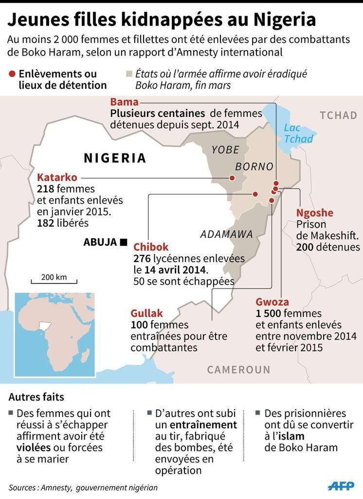 Plus de 2 000 femmes et fillettes kidnappées par Boko Haram, au Nigeria