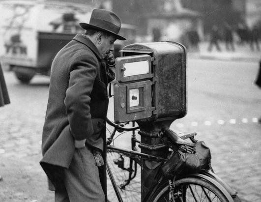 The first public telephones, circa 1930.
