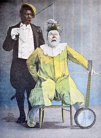 Duo de clowns Footit et Chocolat, illustration couleur de René Vincent, c.1900.