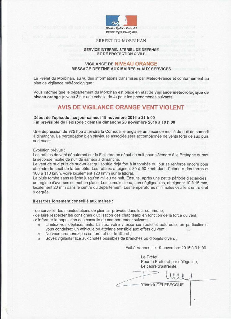 AVIS DE VIGILANCE ORANGE -  VENT VIOLENT