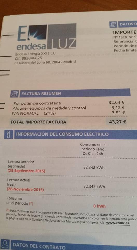 Esto es ridículo! Por 0 consumo, factura de 43.27€ ¿A que juegas Endesa? Compartid por favor!!