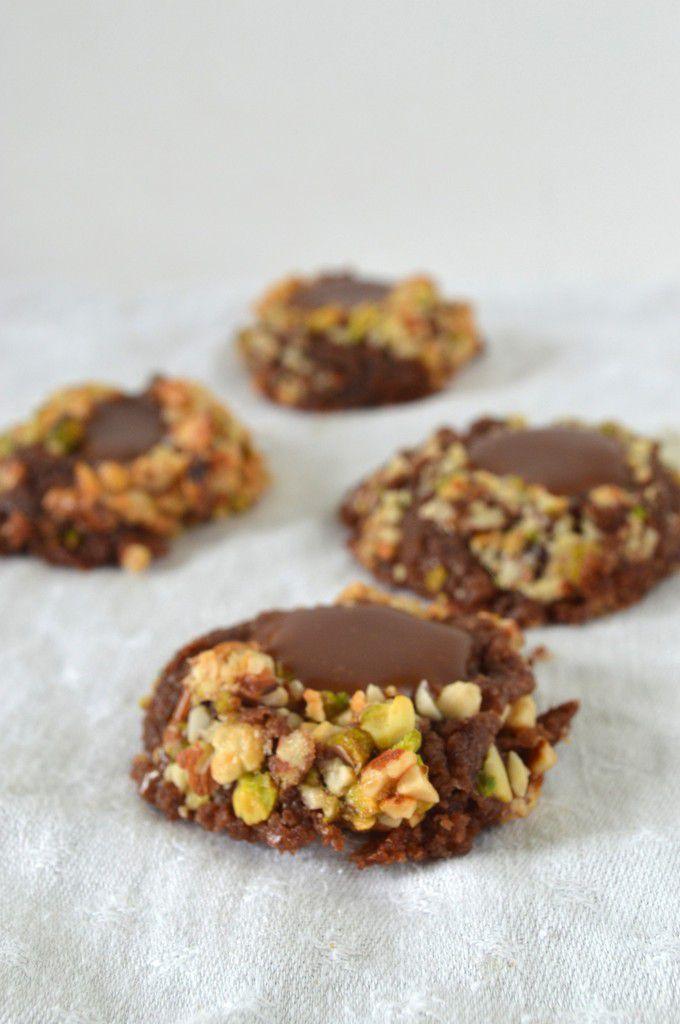 Cookies tortue au chocolat et coeur caramel
