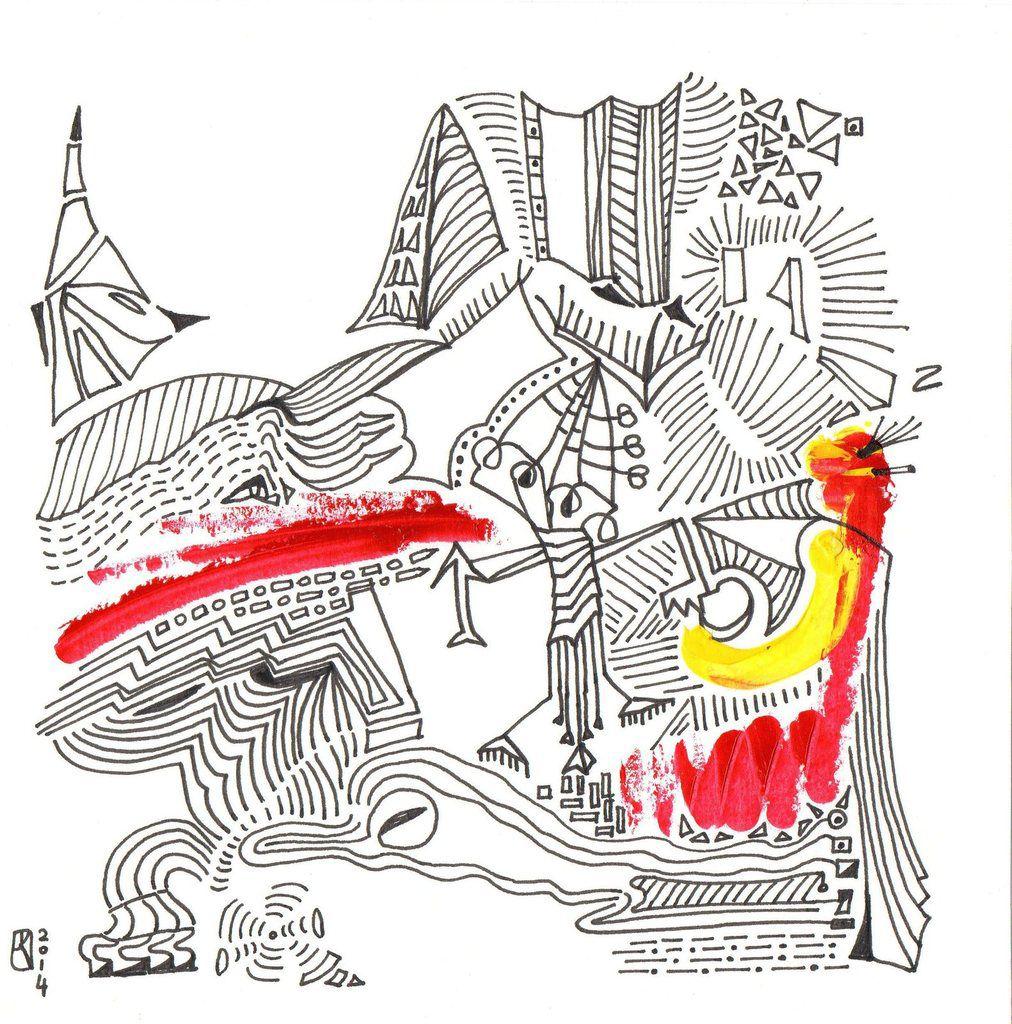 Mistral - dessin, encre de Chine et peinture, 21 x 21 cm