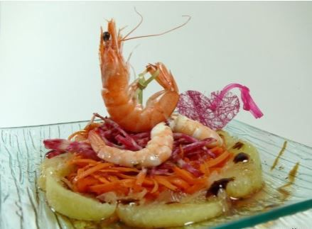 Salade vitaminée, crevettes, tonda di chiogga, pamplemousse